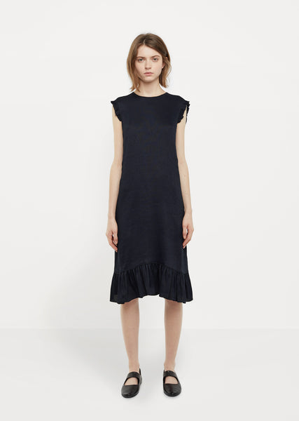 Viscose and Linen Ruffle Dress
