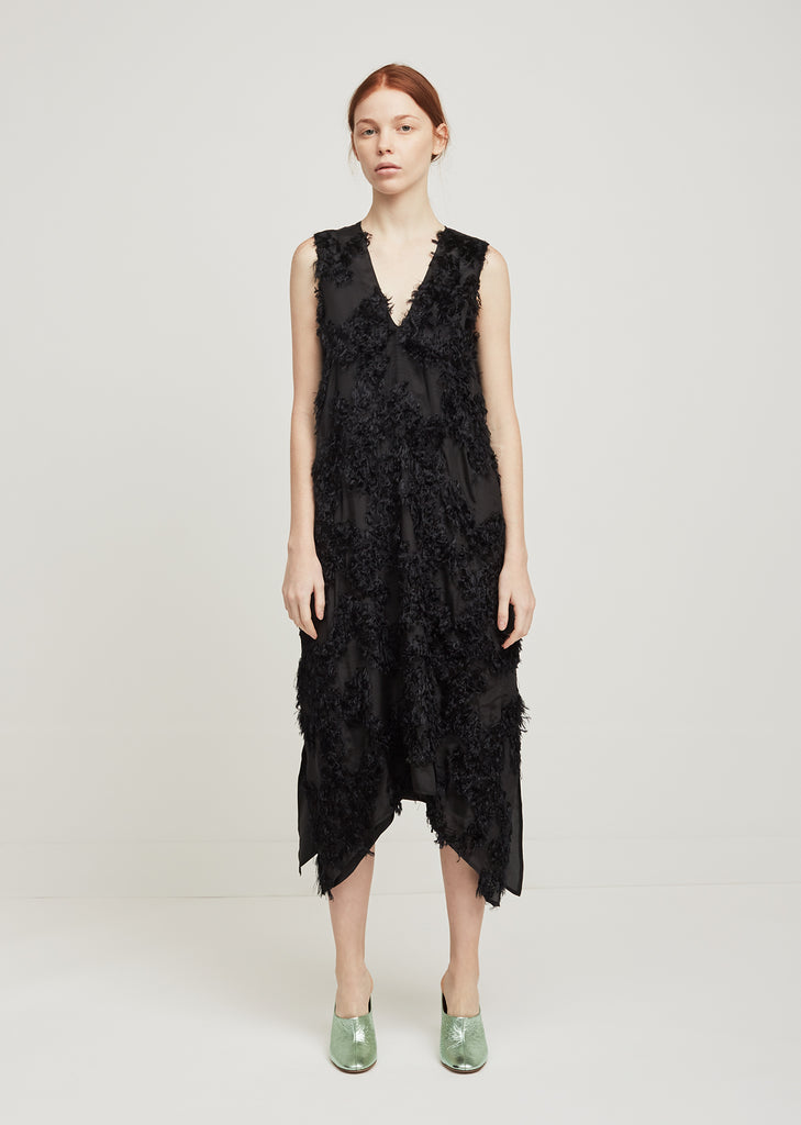 Lena Furry Deep V Dress