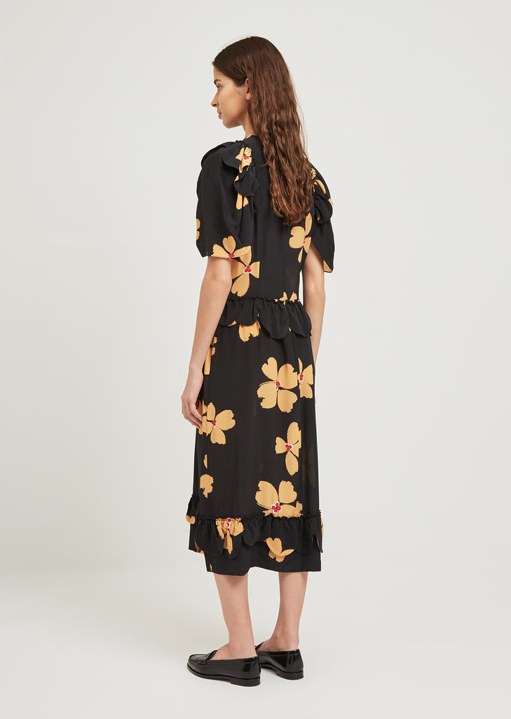 Scallop Trim Floral Dress