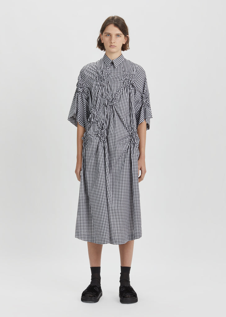 Smocked Gingham Shirt Dress