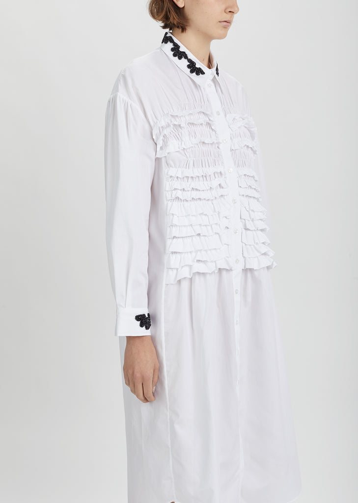 Smocked Poplin Shirt Dress