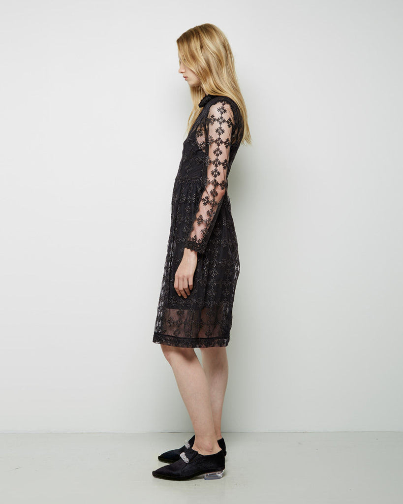 Floral-Embroidered Tulle Dress