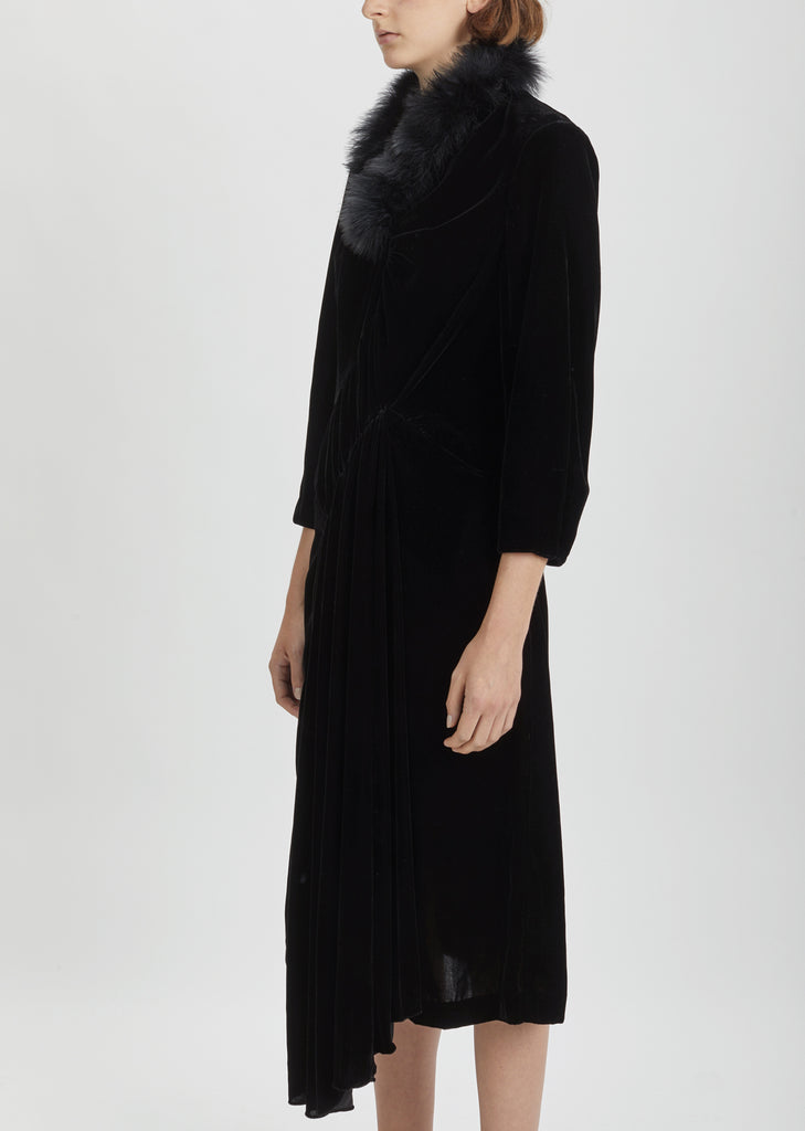 Marabou Trimmed Velvet Dress