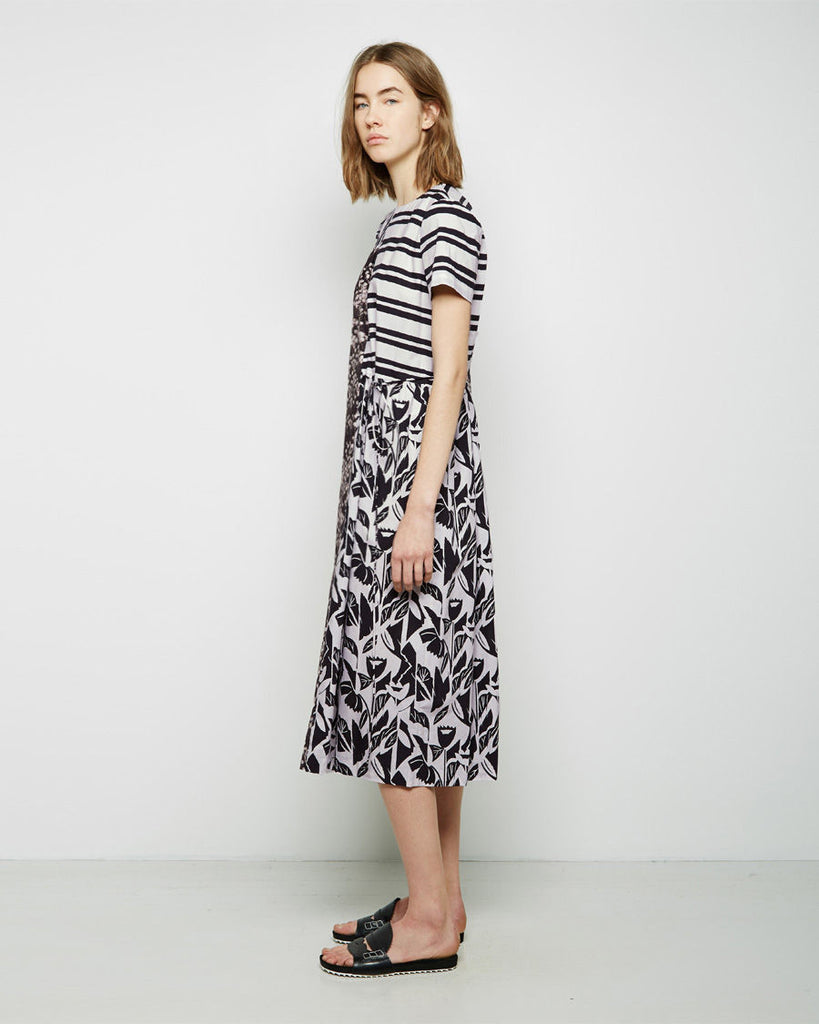 Print Blocked Cinched Waist Dress