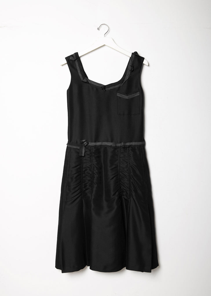 Ribbon-Trim Silk Dress
