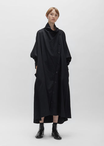 Wool Gabardine Drape Dress