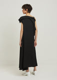 Gabardine Draped Sleeveless Dress
