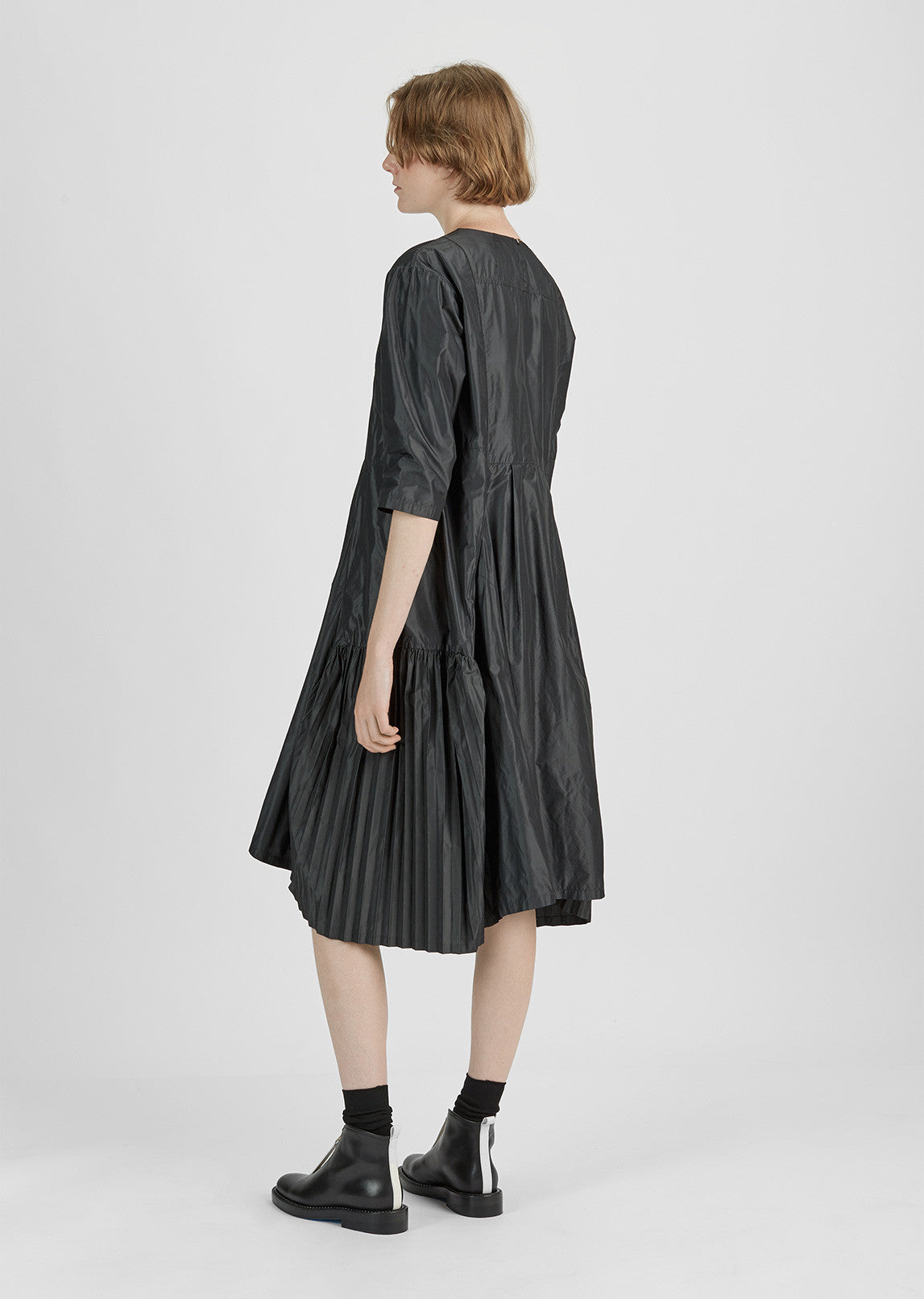 Pleated Taffeta Dress
