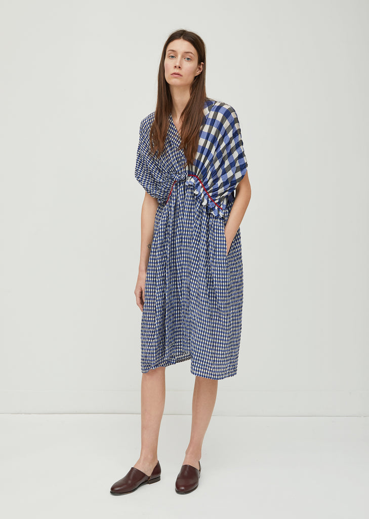 Cupro Gingham Check Dress