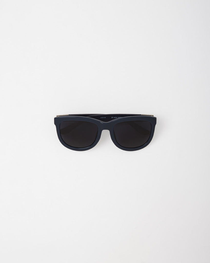 Navy Frame Leather Sunglasses