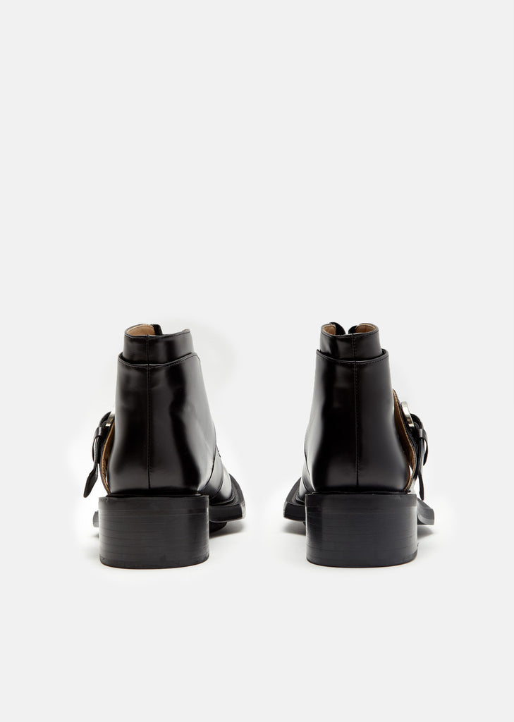 Calf Leather Buckle Ankle Boots