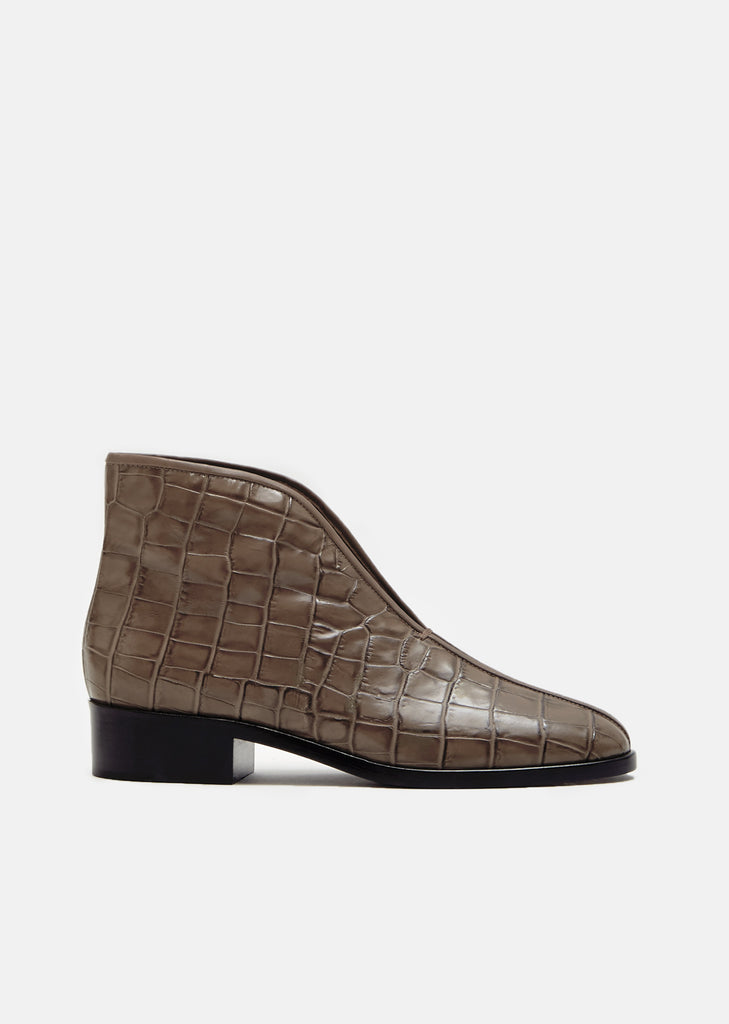 Croco Embossed Open Boots