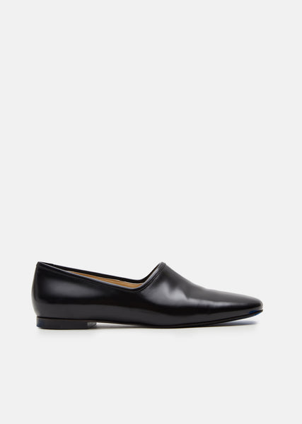 Black Leather Slip On Flats