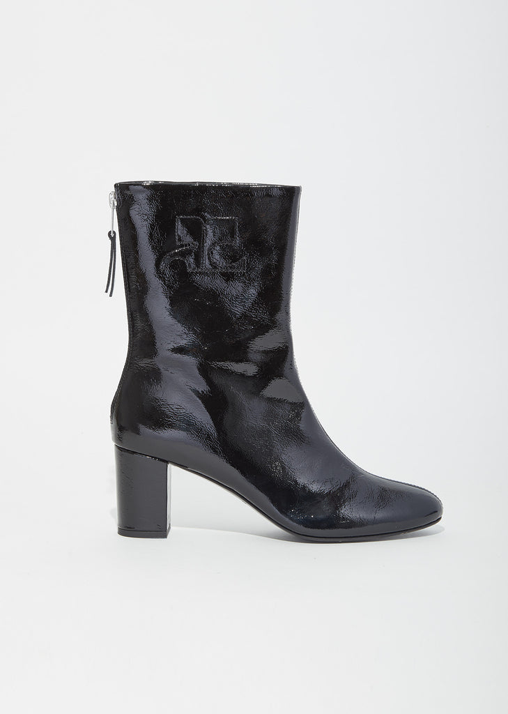 Vinyl Leather Logo Ankle Boots