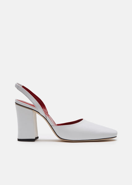 White Leather Slingback Pumps