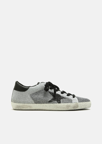 Superstar Silver Lurex Knitted Sneakers