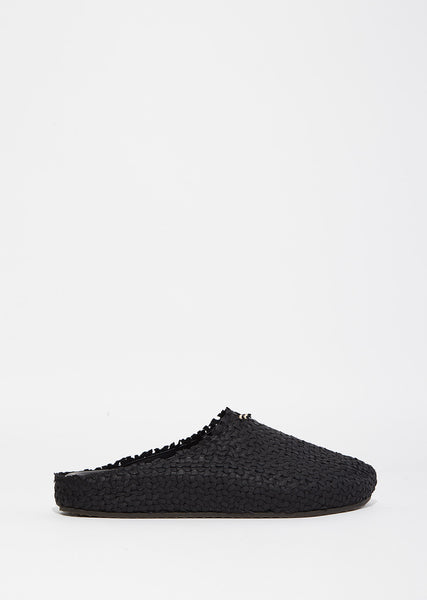 Donna Black Straw Mules