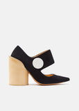 Button Suede Pumps