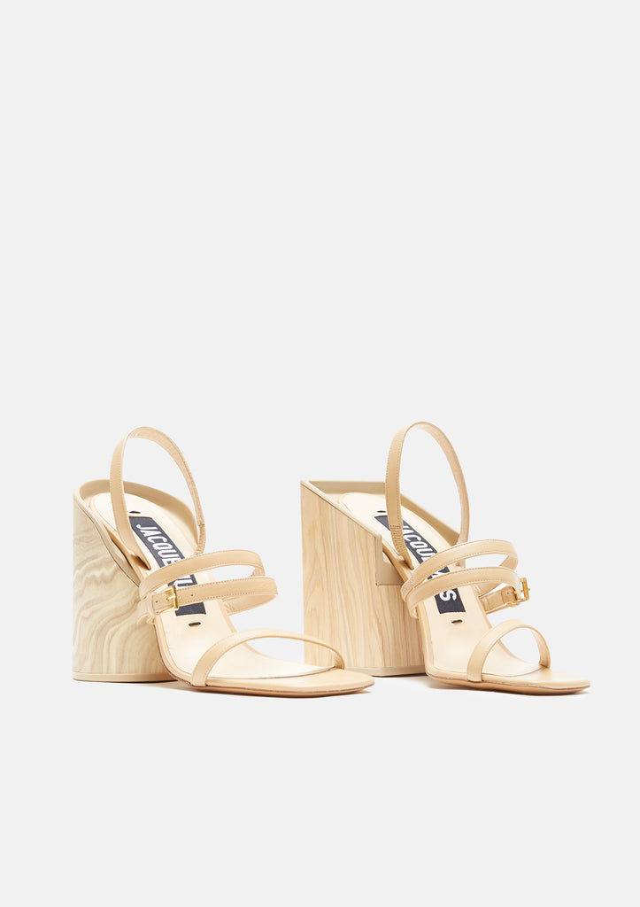Wood Block Leather Sandals