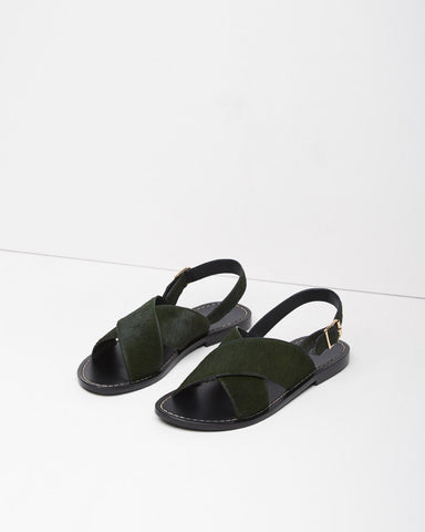 Calf Hair Criss-Cross Fussbett Sandal
