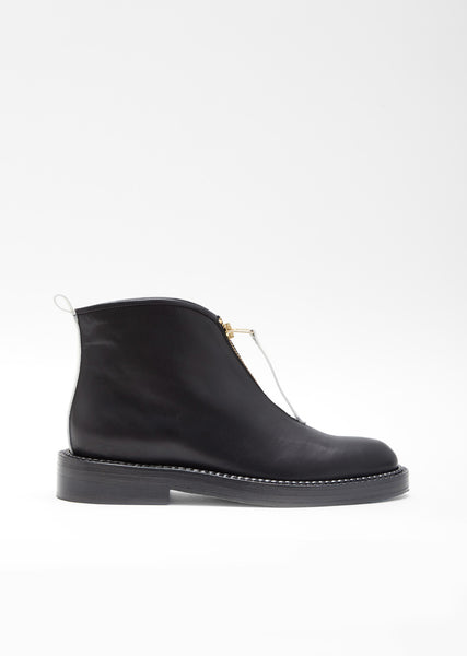 Flat Leather Ankle Boot