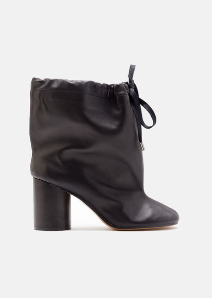 Soft Leather Drawstring Ankle Boots