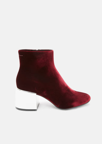 Mirrored Heel Velvet Ankle Boots