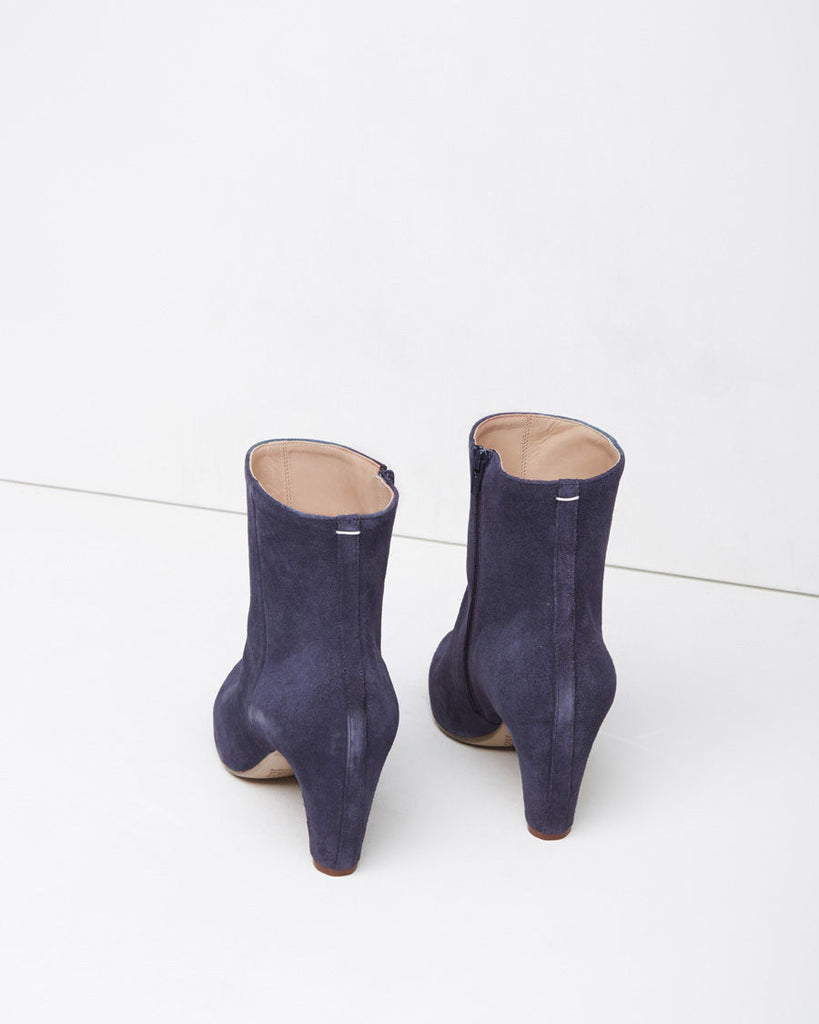 Suede Curved-Heel Boot