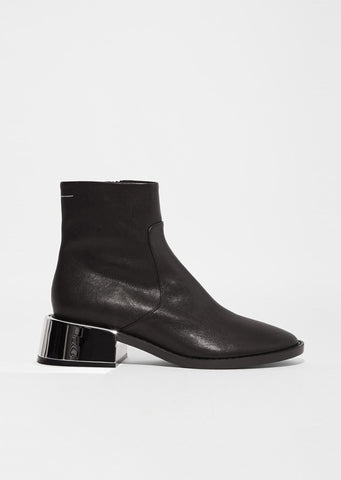 Sheep Skin Mirror Heel Ankle Boots