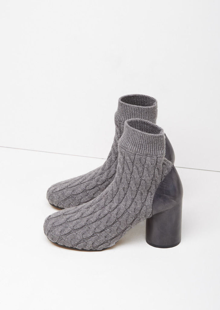 Cable-Knit Sock Bootie