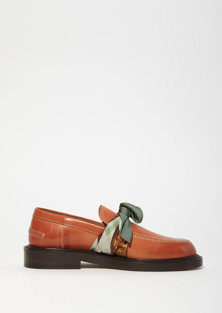 Brushed Effect Scarf Knot Loafers