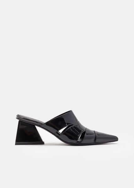 Patent Leather Mid Heel Wrap Mule