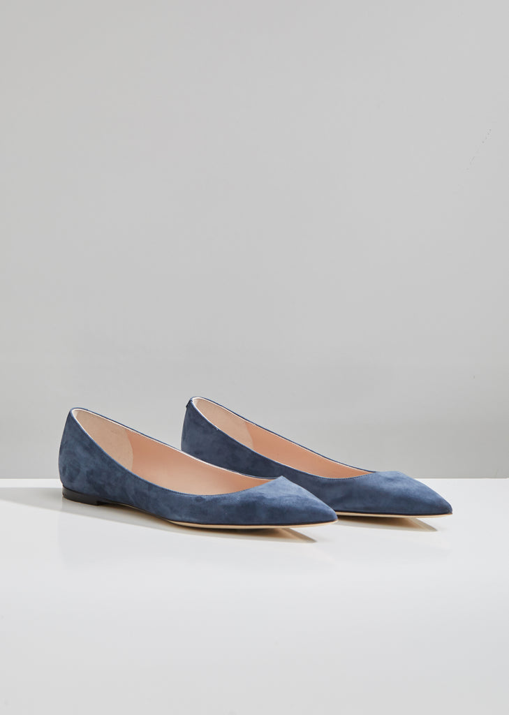 Suede Pointed Toe Flats
