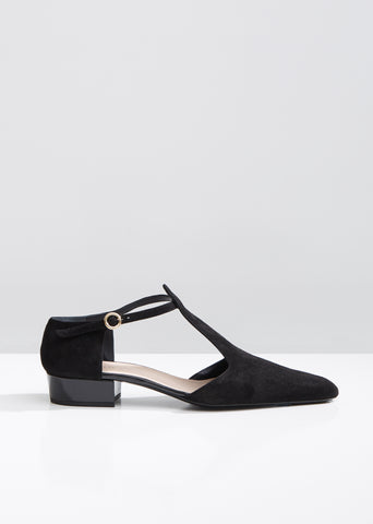 Suede T-Strap Sandals