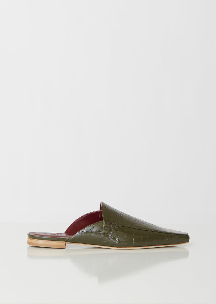 Lia Soft Patent Croco Pointed Mule