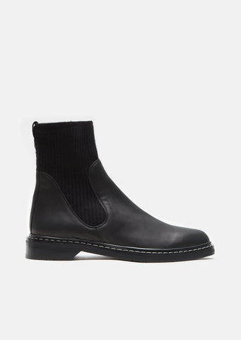 Fara Knit Leather Ankle Boots