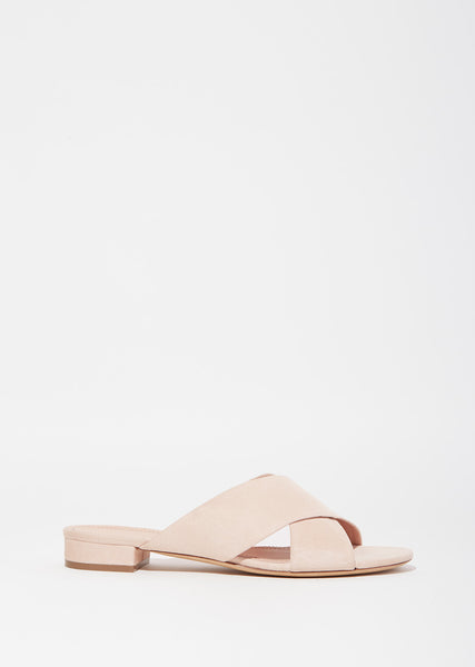 Suede Cross Strap Flats