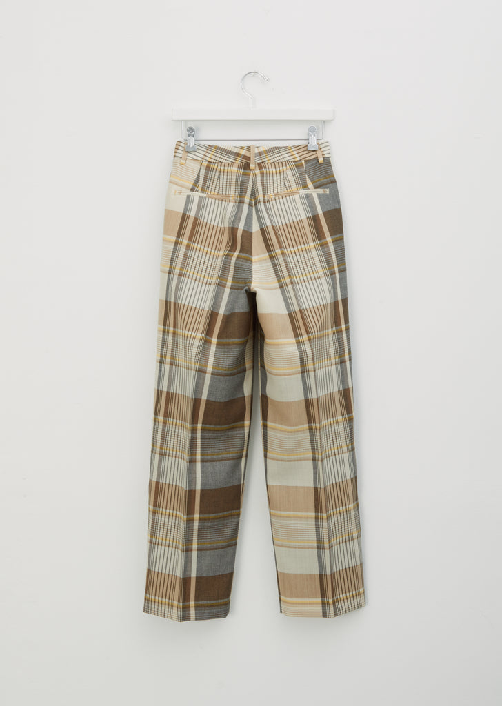 Organic Wool Mesh Check Pants