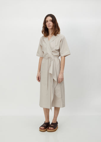 Dina Cotton Poplin Wrap Dress — Desert