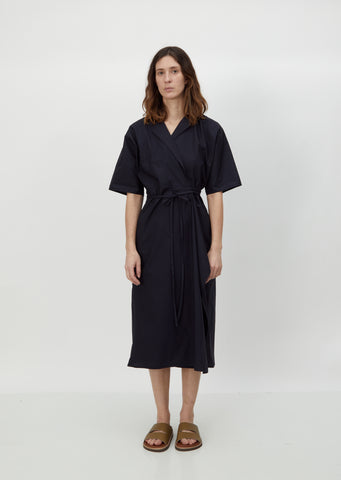 Dina Cotton Poplin Wrap Dress — Black