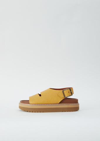 Fame Grain Leather Sandal — Amber