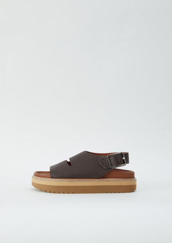 Fame Grain Leather Sandal — Coffee