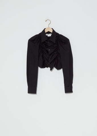 Draped Front Cropped Shirt — Black