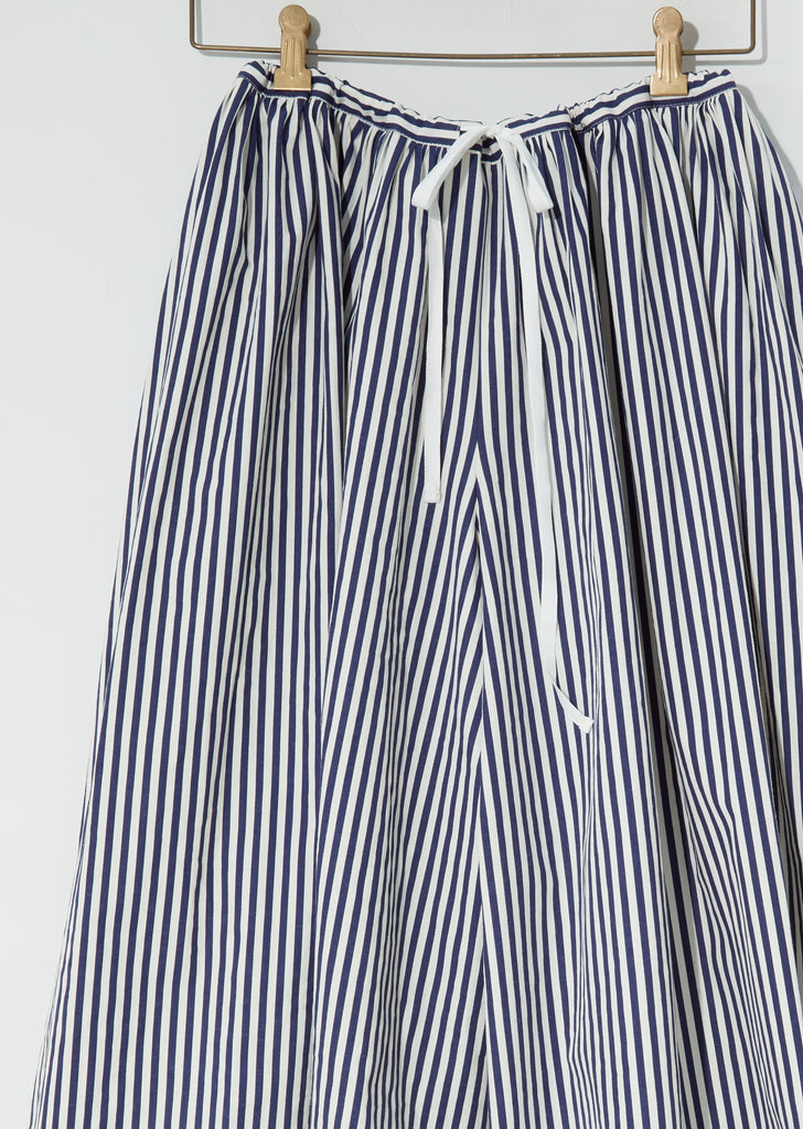 Printed Stripe Popeline Wide Leg Pants