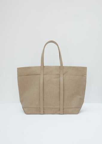 Washed Canvas 6-Pocket Tote M — Taupe
