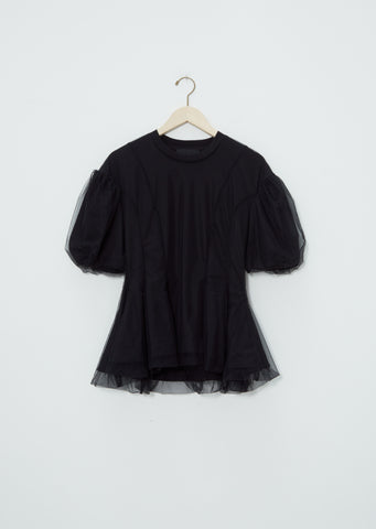 Tulle Overlay Sculpted Top — Black