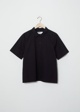 Cotton-Linen Polo Shirt — Black