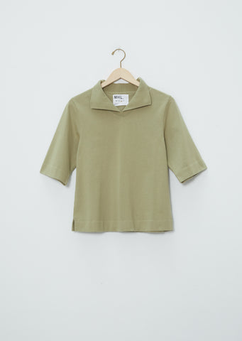 Matte Jersey Loose Collar Polo — Sage