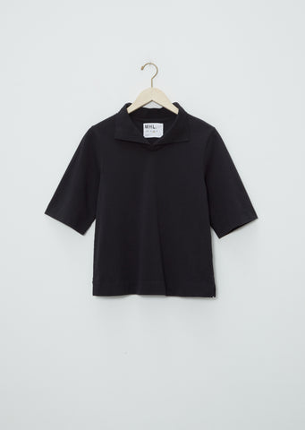 Matte Jersey Loose Collar Polo — Black