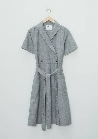 Linen Short Sleeve Wrap Dress